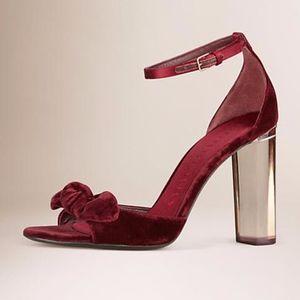 Burberry Bow Velvet Sandals, Color Deep Claret